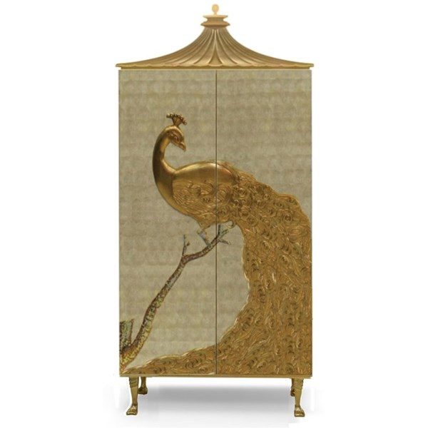 Mother of pearl armoire with gold leaf peacock