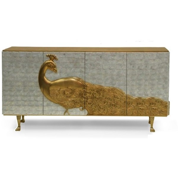 Luxury mother of pearl and gold leaf peacock sideboard