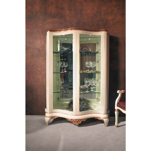 Cream and gold leaf display cabinet with 2 glass doors