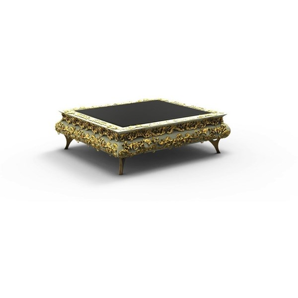 Carved Brass and Gold Leafed Coffee Table