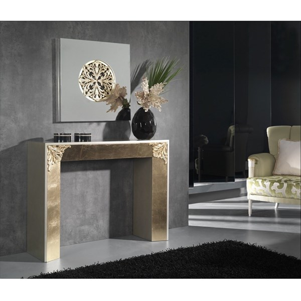 High Gloss Cream & Gold Leaf Carved Console Table