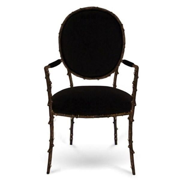 Cast Antique Metal Black Plush Dining Chair With Arms