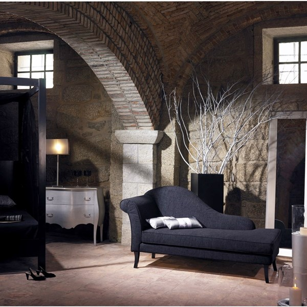 Black fabric elegant chaise longue