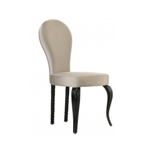Champagne Satin And Weave Upholstered Fabric Chair
