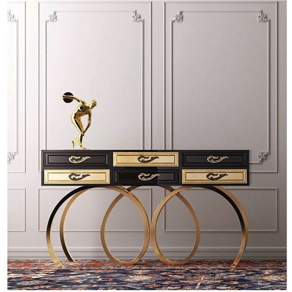 Classic black and gold console with a modern twist