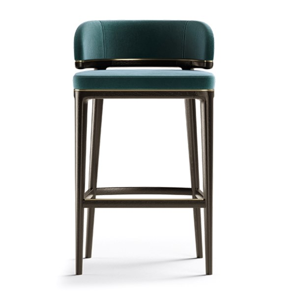 Clementine Bar Stool with Brushed Brass Trim