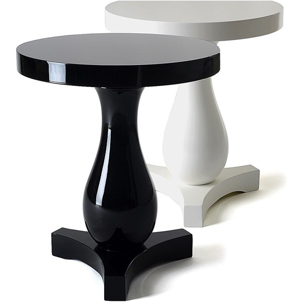 Solid Wood Round High Gloss Side Table