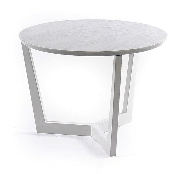 Solid Wood & Marble Top White Side Table/ Coffee Table