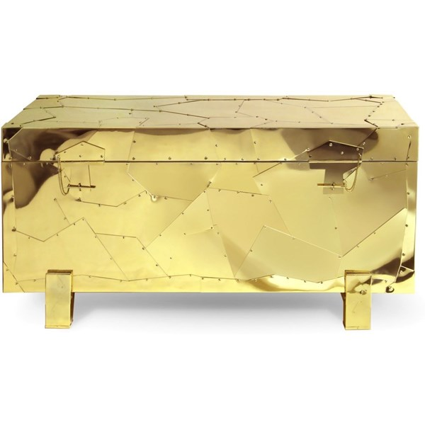 Contemporary Brass And Gold Box Chest