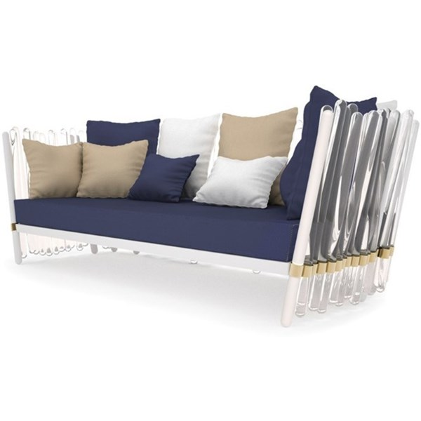 Crystal Lacquered Aluminium And Acrylic Outdoor Sofa With Gold Plated Detailing