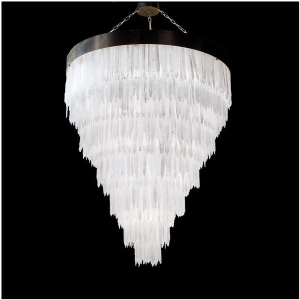 Crystal Large Selenite Stone Round Chandelier