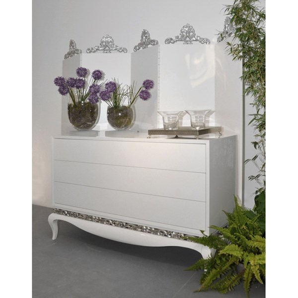 Curved base Glossy white 3 chest of drawers