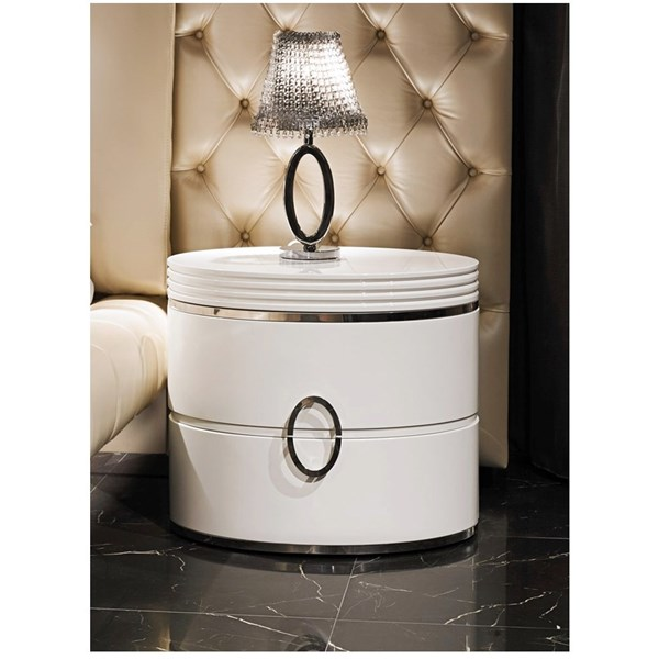 Curved Lacquered Italian Oval Bedside Table With Sliding Top