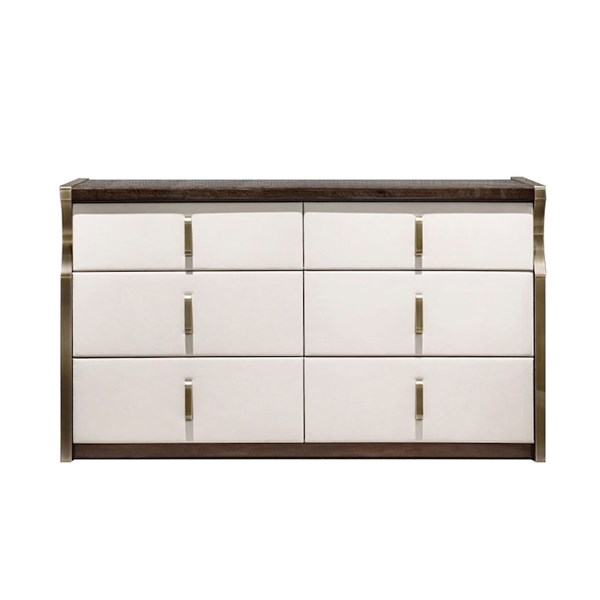 Upholstered Leather Italian Daza Chest Of Drawers