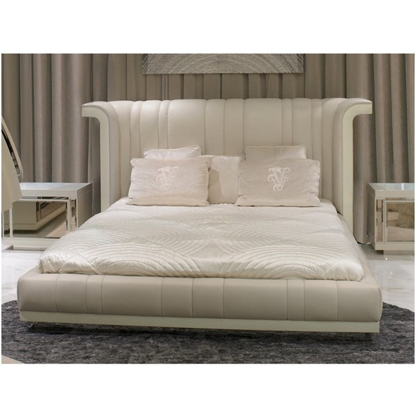 Decadent Upholstered Panelled Cream Leather Italian Bedstead