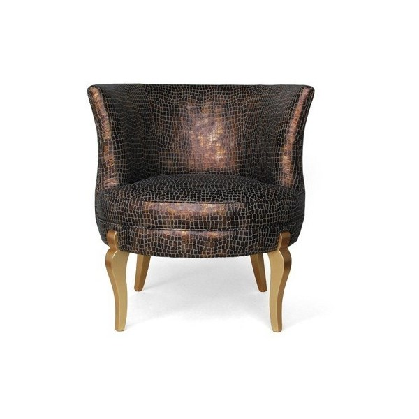 Luxury Upholstered Bronze Glimmer Chair With Gold Legs
