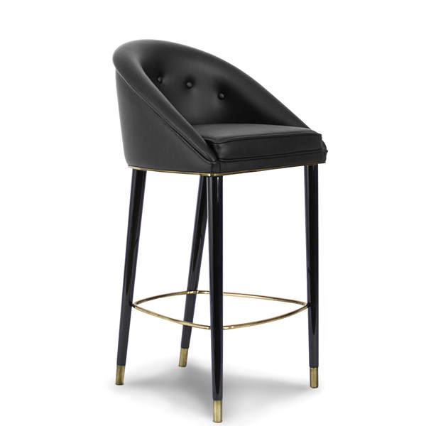 Designer Upholstered Lacquered Matte Brass Bar Chair