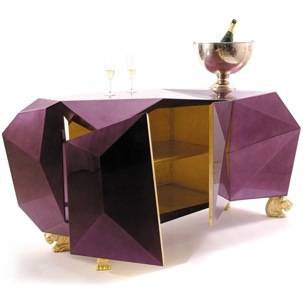 Luxury Amethyst Diamond Cut Sideboard