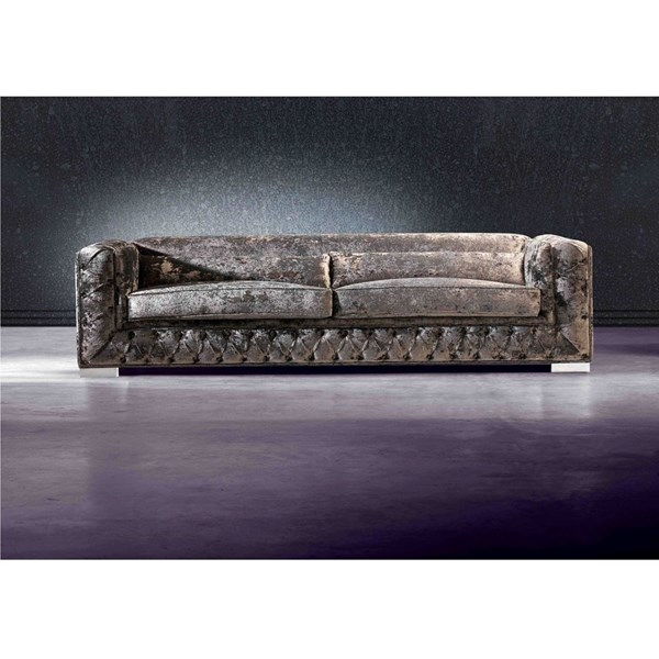 Diamond Crushed Velvet Sofa With Upholstered Buttons