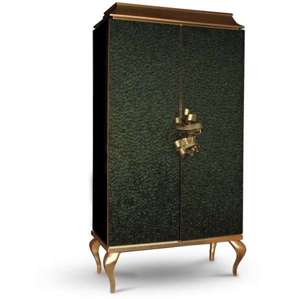Luxury green peacock feather, gold leaf and gold metal ribbon armoire