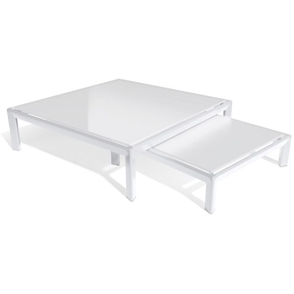 Divine White Lacquered Aluminium And Brushed Stainless Steel Outdoor Table
