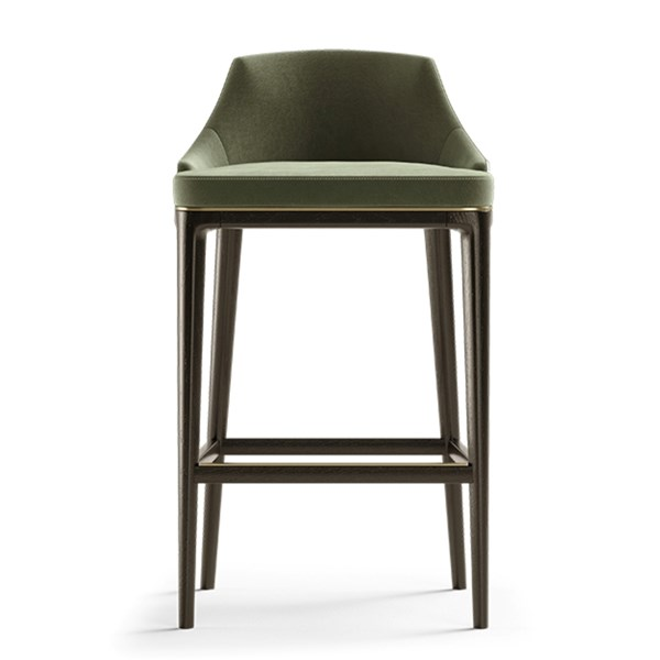 Divus Bar Stool With Brushed Brass Detail