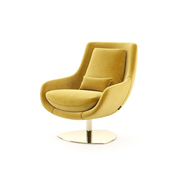 Elba Armchair with Polished Gold Base