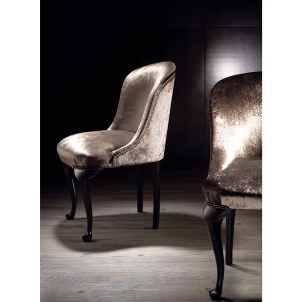Emporium Upholstered Plush Velvet Silver Studded Dining Chair