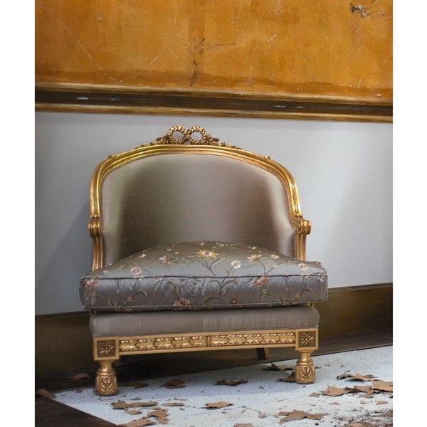 Upholstered Satin Fabric Carved Gold Finish Armchair