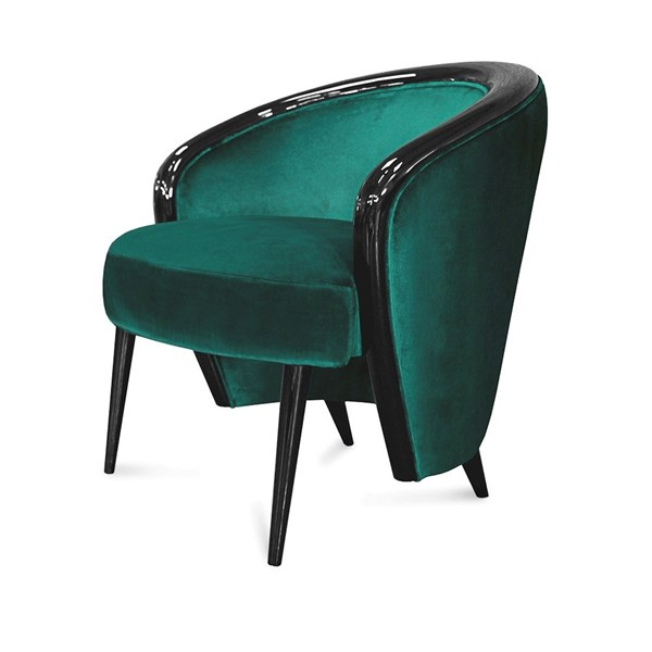 High Gloss Black Lacquered Galene Armchair