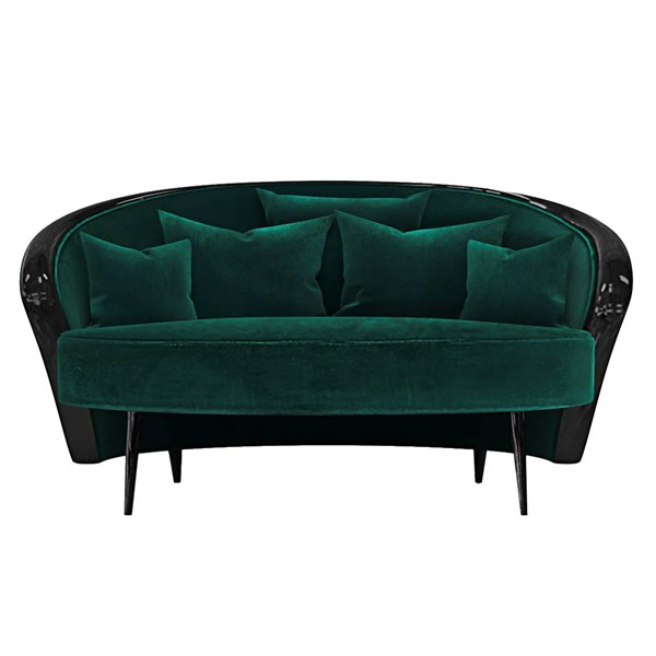 High Gloss Black Lacquered Galene Two Seater Sofa