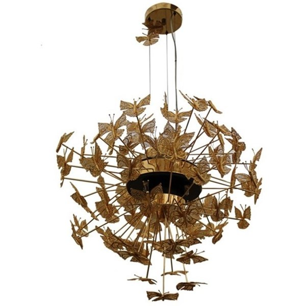 Gilded Bronze Brass Butterfly Chandelier
