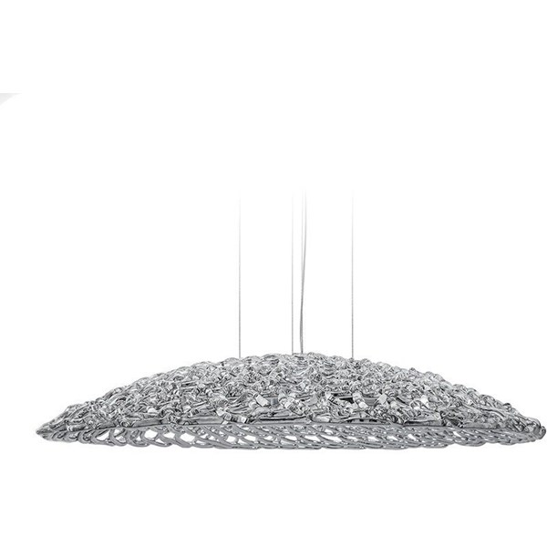 Gleaming Nights Silver Glass H8 Round Chandelier