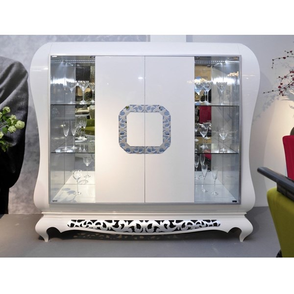 Designer glossy white bar cabinet with wood and glass doors