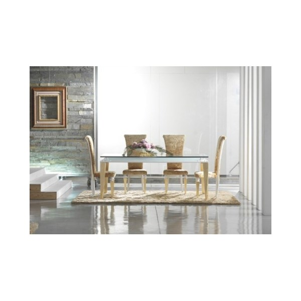 Luxury 210 cm gold leaf dining table with glass top