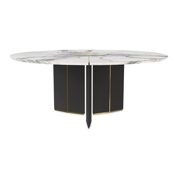 Gold Plated Carrara Marble Round Dining Table with Black Leather