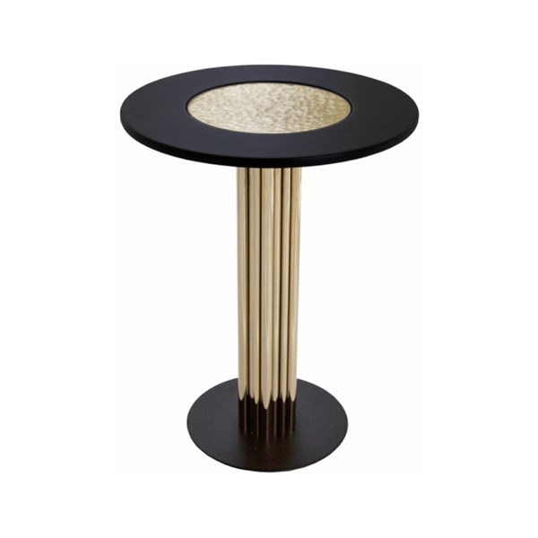 Golden Brass & Black Lacquer Luxury Side Table