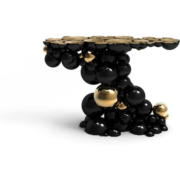 Gold Plated and High Gloss Black Bubbles Console