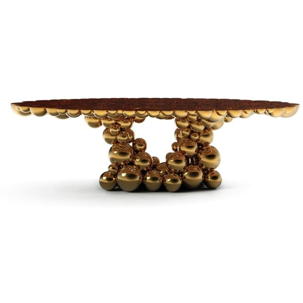 Gold Plated Veneer Bubbles Dining Table