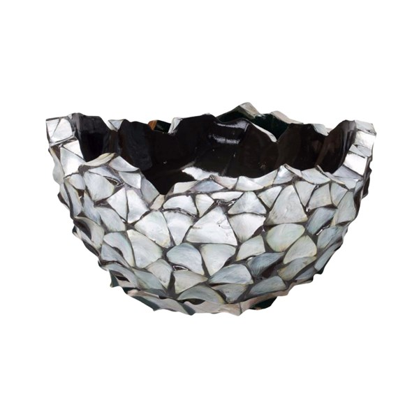 Gosrottie Silver Mother of Pearl Round Seashell Bowl