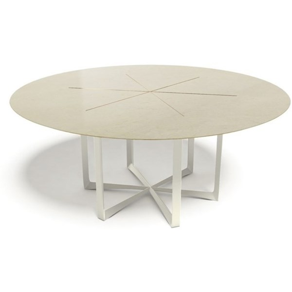 Gracie Marble Top Aluminium And Copper Plated Outdoor Round Dining Table