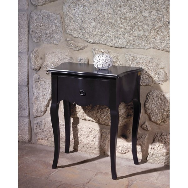 Black gloss French side table with 1 drawer