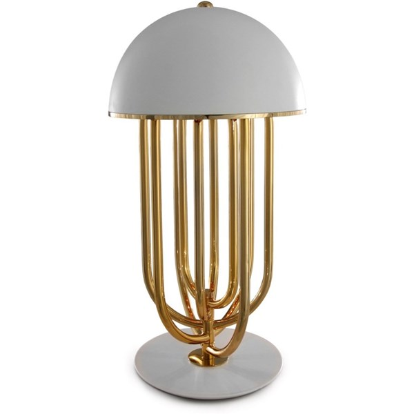 Arc Rose Gold White Lacquered Table Lamp