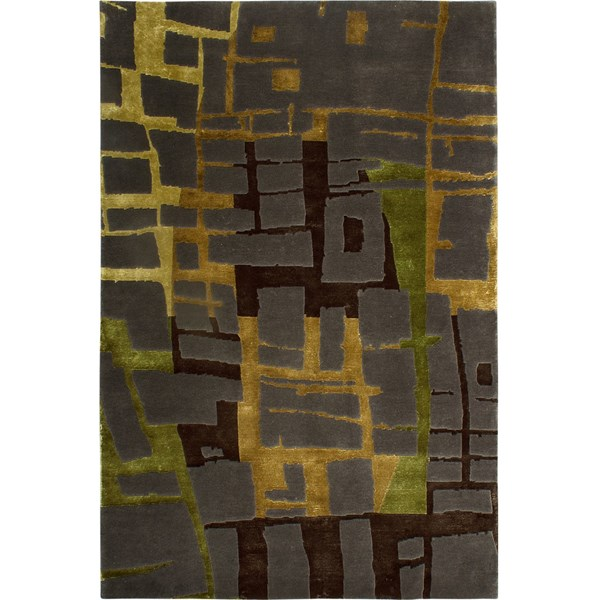 Hand Knotted Green, Ebony And Bronze Rug