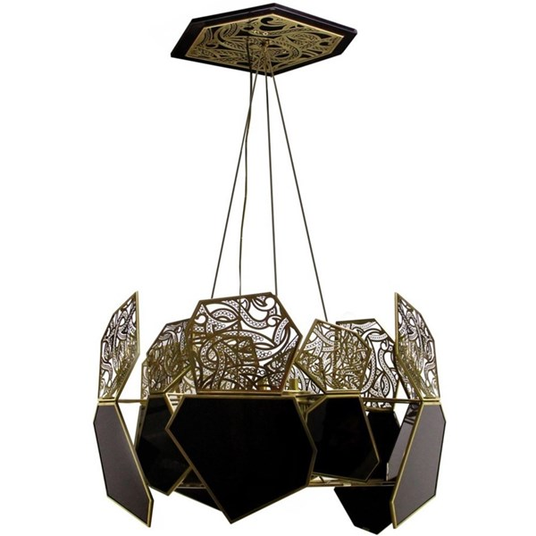 Hexagonal Polished Brass and Black Glass Chandelier