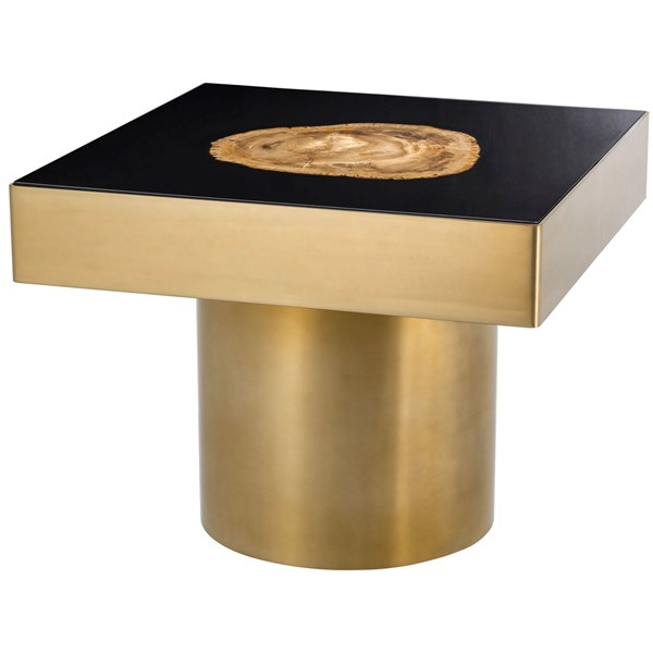 High Gloss Black & Gold Gomez Side Table