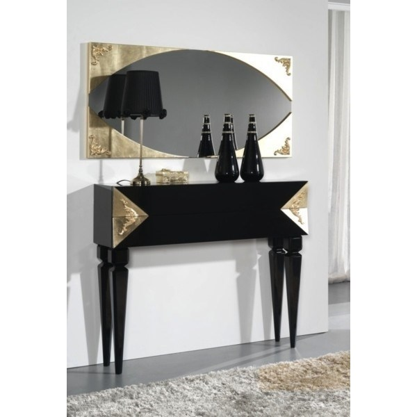 High Gloss Black and Gold Leaf Carved Detailed Sylphlike Console
