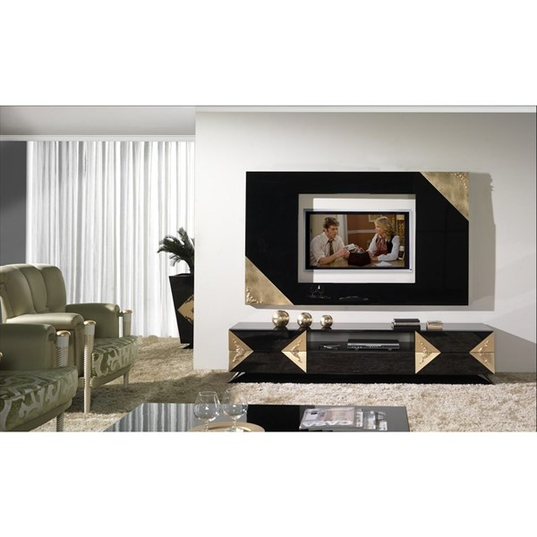High Gloss Black Lacquered & Carved Gold Leaf Media Unit