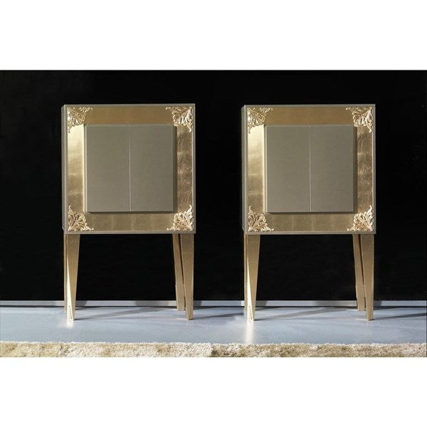 High Gloss Champagne Lacquered Carved Gold Leaf Sylphlike Bar Cabinet