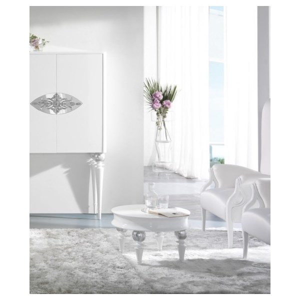 High Gloss White Lacquer Carved Silver Leaf Sylphlike Round Coffee Table